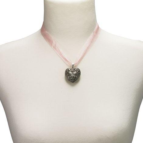 Organza-Halskette Trachtenherz (rosé-rosa) Bild 3