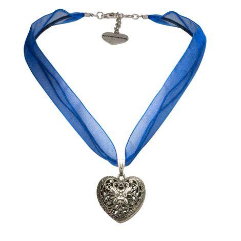 Organza-Halskette Trachtenherz (blau) Bild 1