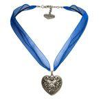 Organza-Halskette Trachtenherz (blau)