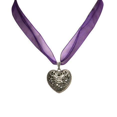 Organza-Halskette Trachtenherz (lila-violett) Bild 2