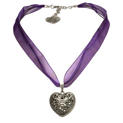 Organza-Halskette Trachtenherz (lila-violett) Bild 1