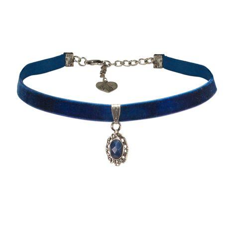 Samt-Kropfband Trachten-Stein (blau) Bild 1