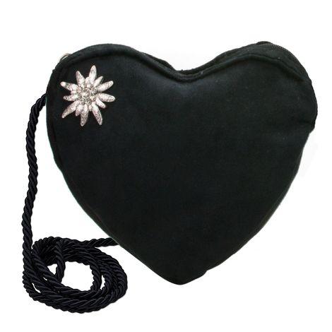 Herztasche Strass-Edelweiß (schwarz) Bild 1