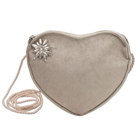 Herztasche Strassedelweiss Pin (taupe-grau)