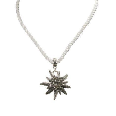 Kordel-Halskette Strass-Edelweiß (weiß) Bild 2