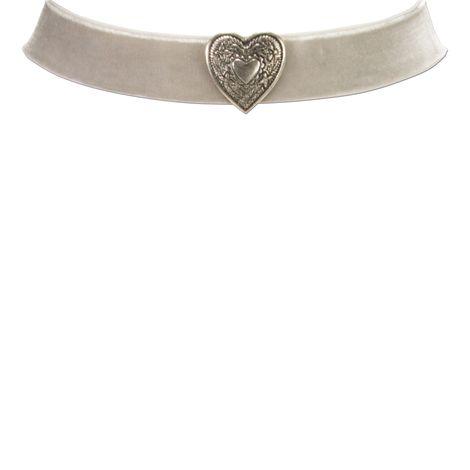 Samt-Kropfband breit Herz (grau) Bild 2
