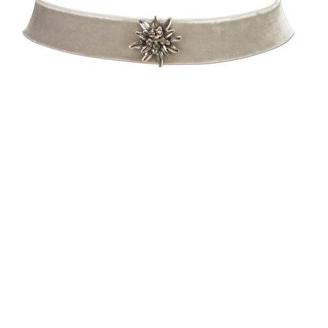 Samt-Kropfband breit Strass-Edelweiß (grau) Bild 2