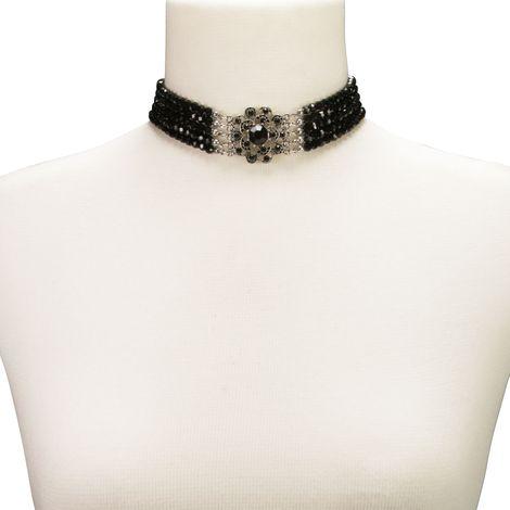 Perlen-Kropfkette Elvira (schwarz) Bild 3