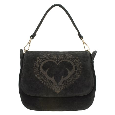 Sattel-Trachtentasche Geweih-Herz (schwarz) Bild 4