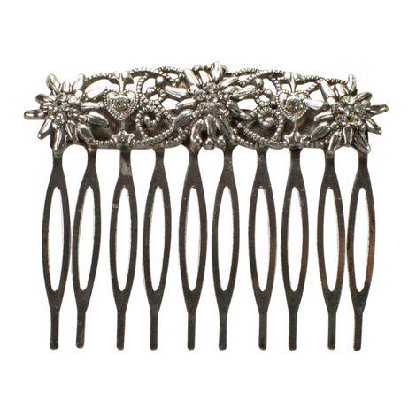 Trachten-Haarkamm Edelweiß mit Herzen (antik-silber-farben)