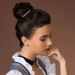 Haarkamm Edelweiß mit Herzen (antik-silber-farben)