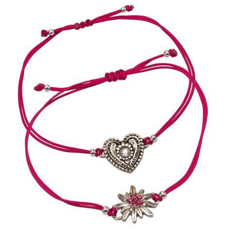 Armband-Set Strass-Edelweiß und Trachtenherz (pink-fuchsia) Bild 1
