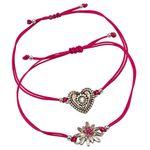 Armband-Set Strass-Edelweiß und Trachtenherz (pink-fuchsia)