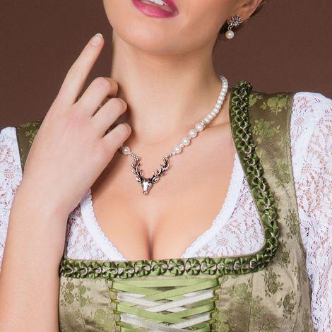 Perlen-Halskette Hirsch (creme-weiß) Bild 2