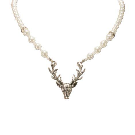 Perlen-Halskette Hirsch (creme-weiß) Bild 3