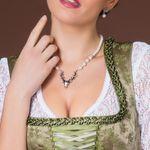 Perlen-Halskette Hirsch (creme-weiß)