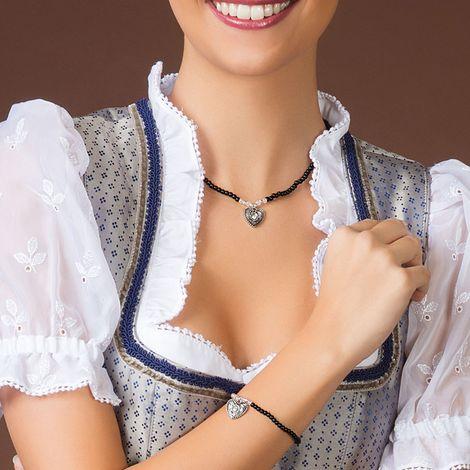 Filigran Perlen-Halskette Trachtenherz (schwarz) Bild 2