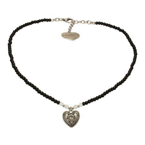 Filigran Perlen-Halskette Trachtenherz (schwarz) Bild 1