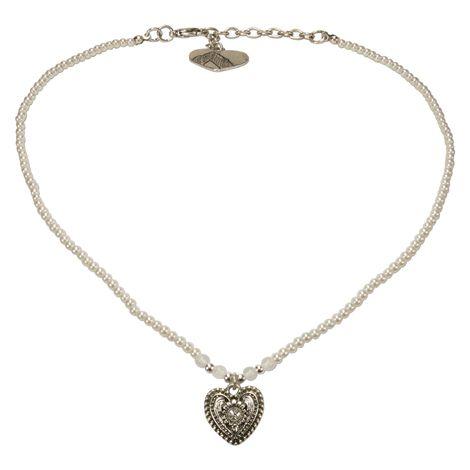 Filigran Perlen-Halskette Trachtenherz (creme-weiß) Bild 1
