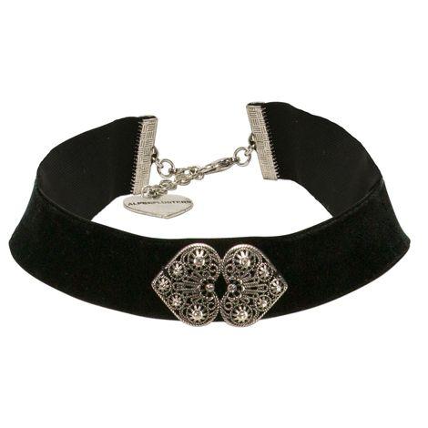 Trachten-Samt-Kropfband Ornament-Herzen (schwarz)