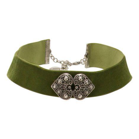 Samt-Kropfband Ornament-Herzen (grün) Bild 1