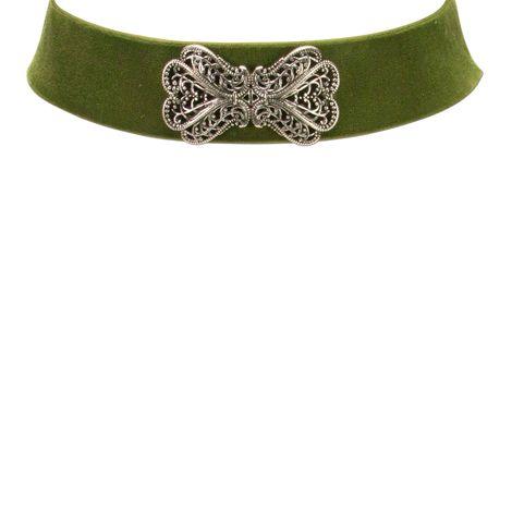 Samt-Kropfband Ornament-Schleife (grün) Bild 2