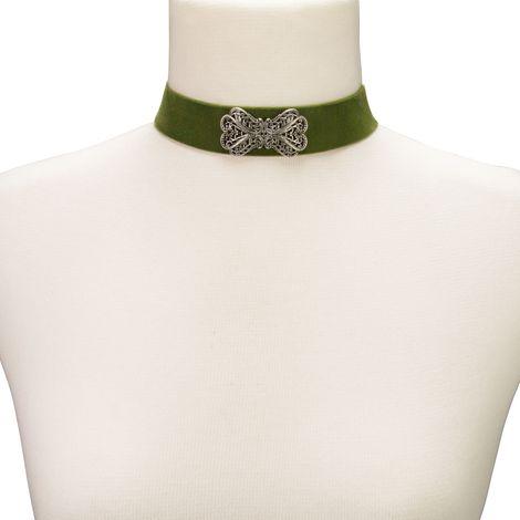 Samt-Kropfband Ornament-Schleife (grün) Bild 3