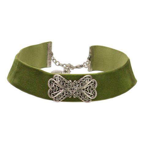 Samt-Kropfband Ornament-Schleife (grün) Bild 1