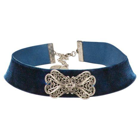 Trachten-Samt-Kropfband Ornament-Schleife (blau)