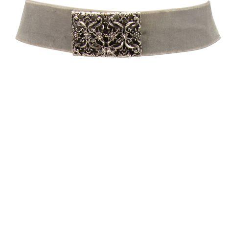 Samt-Kropfband Ornament-Edelweiß (grau) Bild 2