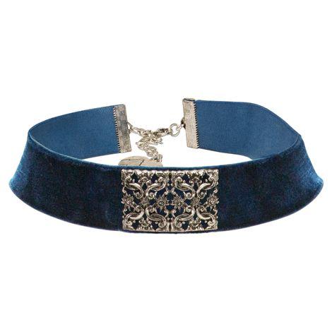 Trachten-Samt-Kropfband Ornament-Edelweiß (blau)
