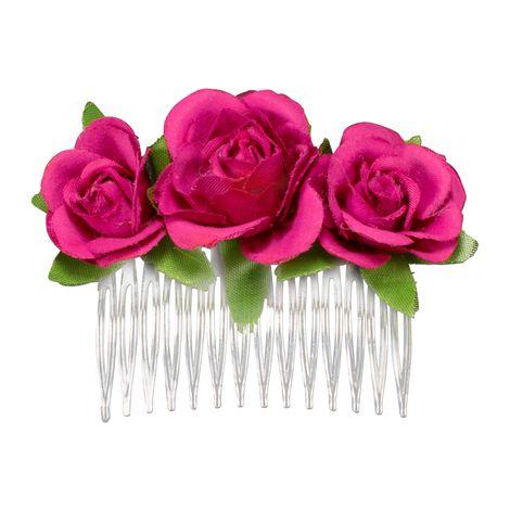 Haarkamm Rosen-Blüten (pink-fuchsia) Bild 1