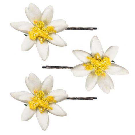 Haarklammern Edelweiß-Blüten 3er-Set (creme-weiß) Bild 1
