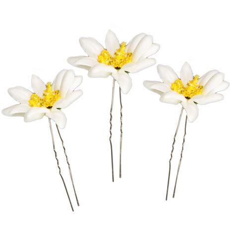 Haarnadeln Edelweiß-Blüten 3er-Set (creme-weiß) Bild 1