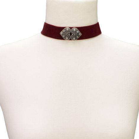 Samt-Kropfband Ornament-Herzen (dunkel-rot) Bild 3