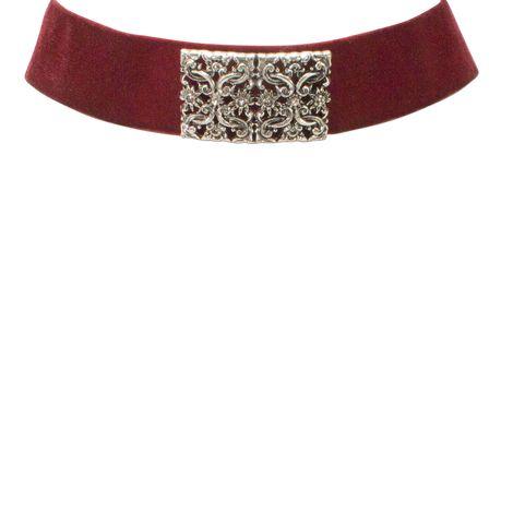 Samt-Kropfband Ornament-Edelweiß (dunkel-rot) Bild 2