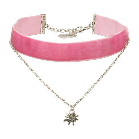 Samt-Kropfband Strass-Edelweiß-Kette (rosa-rosé) Bild 1