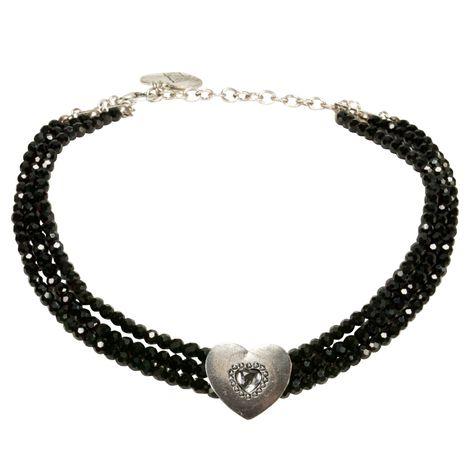 Perlen-Kropfkette Funkelherz (schwarz) Bild 1