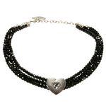 Perlen-Kropfkette Funkelherz (schwarz)