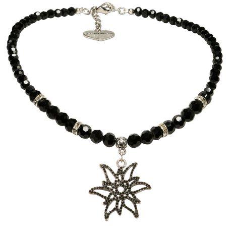 Perlen-Halskette Glitzer-Edelweiß (schwarz) Bild 1