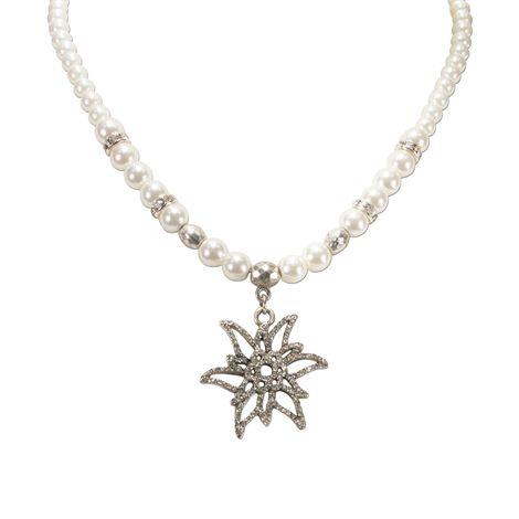 Perlen-Halskette Glitzer-Edelweiß (creme-weiß) Bild 3