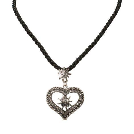 Kordel-Halskette Strass-Edelweiß Herz (schwarz) Bild 2