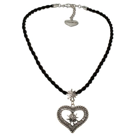 Kordel-Halskette Strass-Edelweiß Herz (schwarz) Bild 1