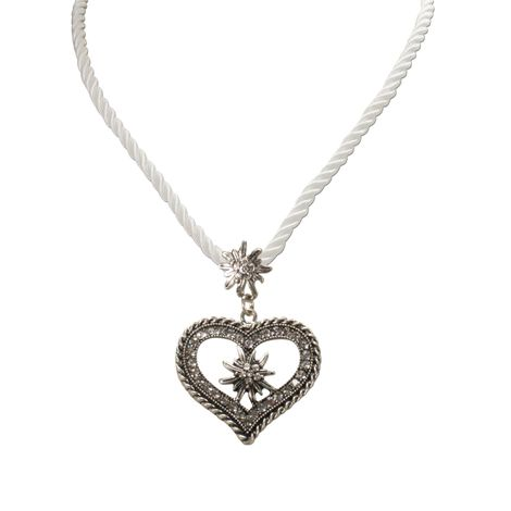 Kordel-Halskette Strass-Edelweiß Herz (weiß) Bild 2