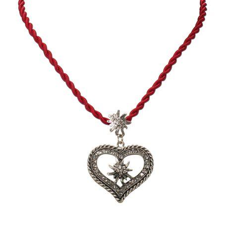Kordel-Halskette Strass-Edelweiß Herz (rot) Bild 2