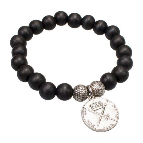 Holzperlen-Armband Münze (schwarz) Bild 1