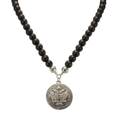 Holzperlen-Halskette Münze (antik-silber-farben) Bild 3
