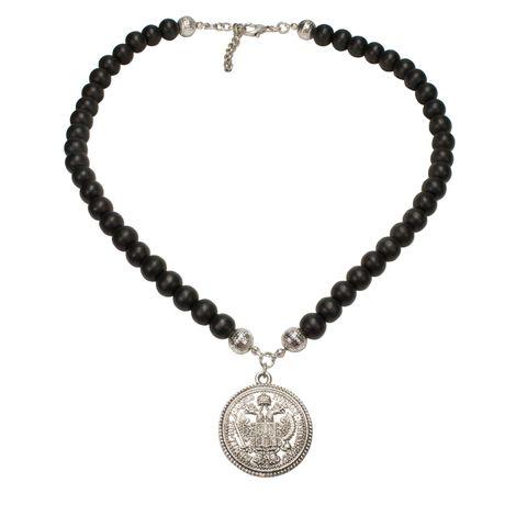 Holzperlen-Halskette Münze (antik-silber-farben) Bild 1