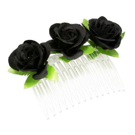 Haarkamm Rosen-Blüten (schwarz) Bild 2