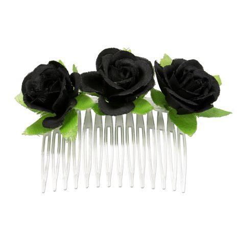 Haarkamm Rosen-Blüten (schwarz) Bild 1
